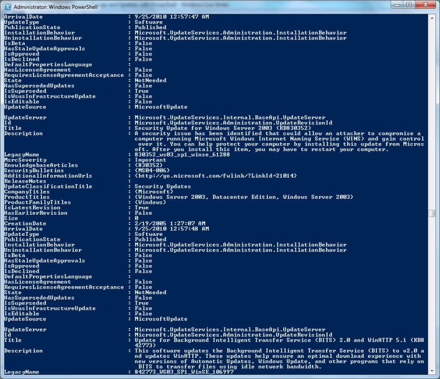 WSUS: Viewing Updates with PowerShell | Learn Powershell