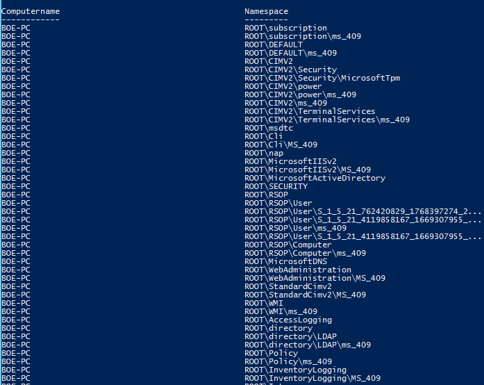 Quick Hits: List All Available WMI Namespaces Using PowerShell